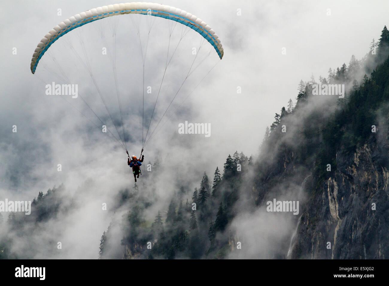 Paraglider in Lauterbrunnen Valley, Switzerland - Stock Image