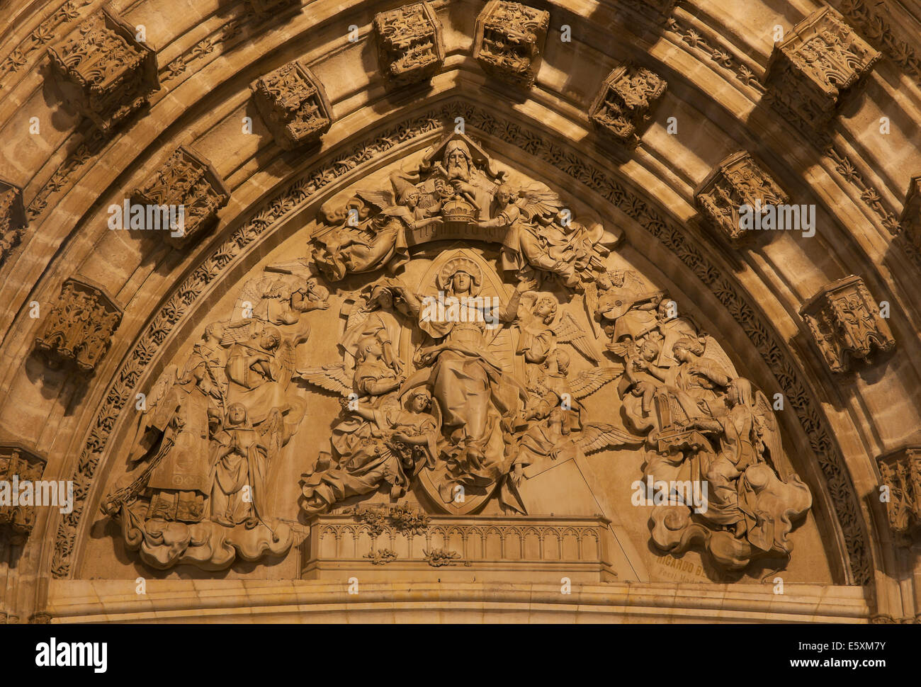 Cathedral - Tympanum of the door of the Assumption, Seville, Region of Andalusia, Spain, Europe - Stock Image