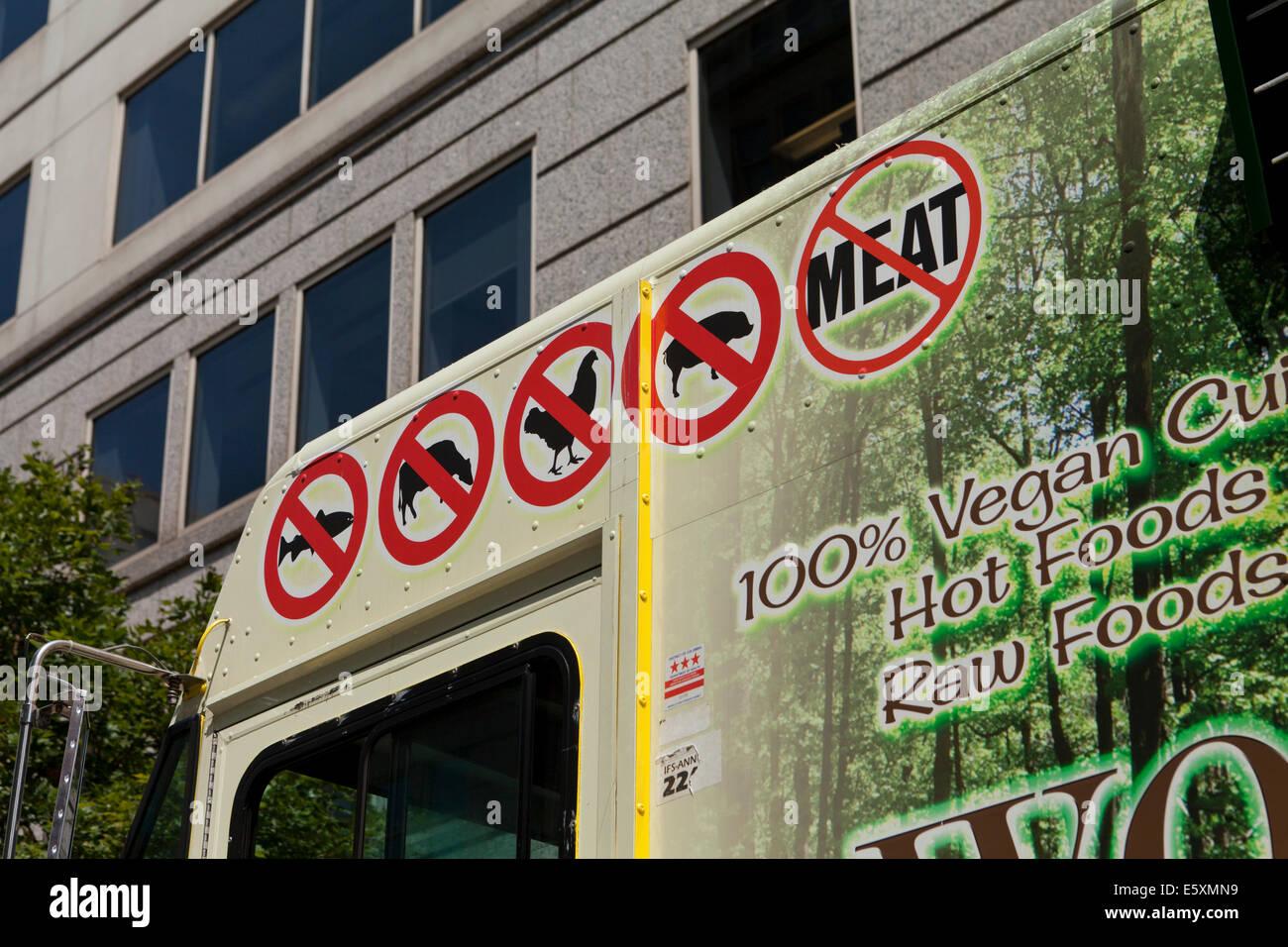 No meat signs on vegan food truck - Washington, DC USA - Stock Image