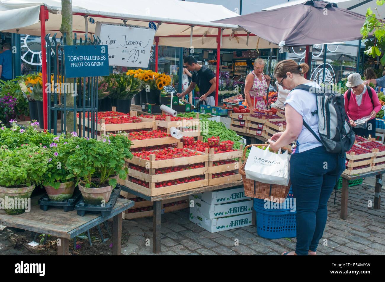 Torvehallerne covered food market, Copenhagen - Stock Image
