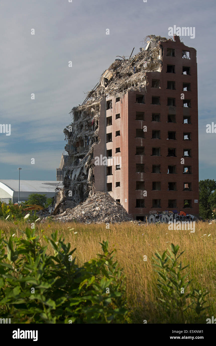 Detroit, Michigan - Demolition of the Brewster-Douglass public housing projects. - Stock Image