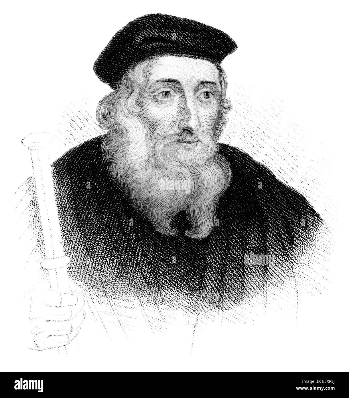 John Wycliffe or Wyclif, Wycliff, Wiclef, Wicliffe, or Wickliffe known as Doctor evangelicus, 1330 - 1384, English - Stock Image