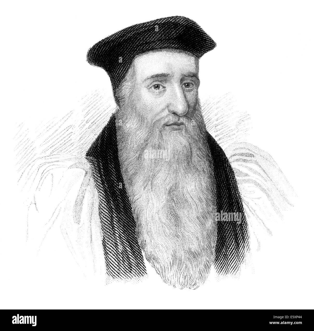 Steel engraving, c. 1860, Thomas Cranmer, 1489-1556, a leader of the English Reformation and Archbishop of Canterbury, - Stock Image
