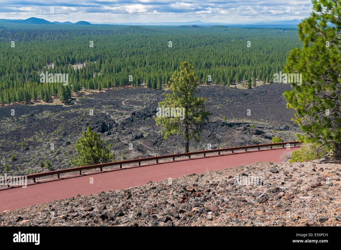 Oregon, Newberry National Volcanic Monument, Lava Butte, summit road, lava field view from crater rim trail - Stock Image
