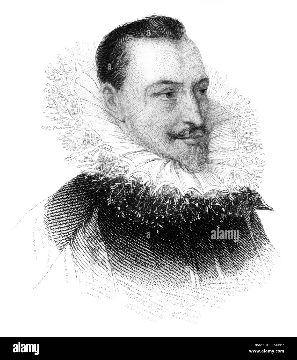 Portrait of Edmund Spenser, ca. 1552 - 1599, an English poet, - Stock Image