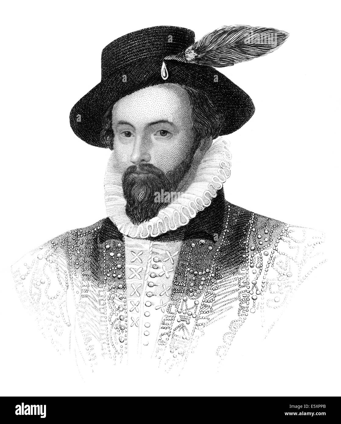 Portrait of Sir Walter Raleigh, 1554 - 1618, an English aristocrat, writer, poet and explorer, - Stock Image