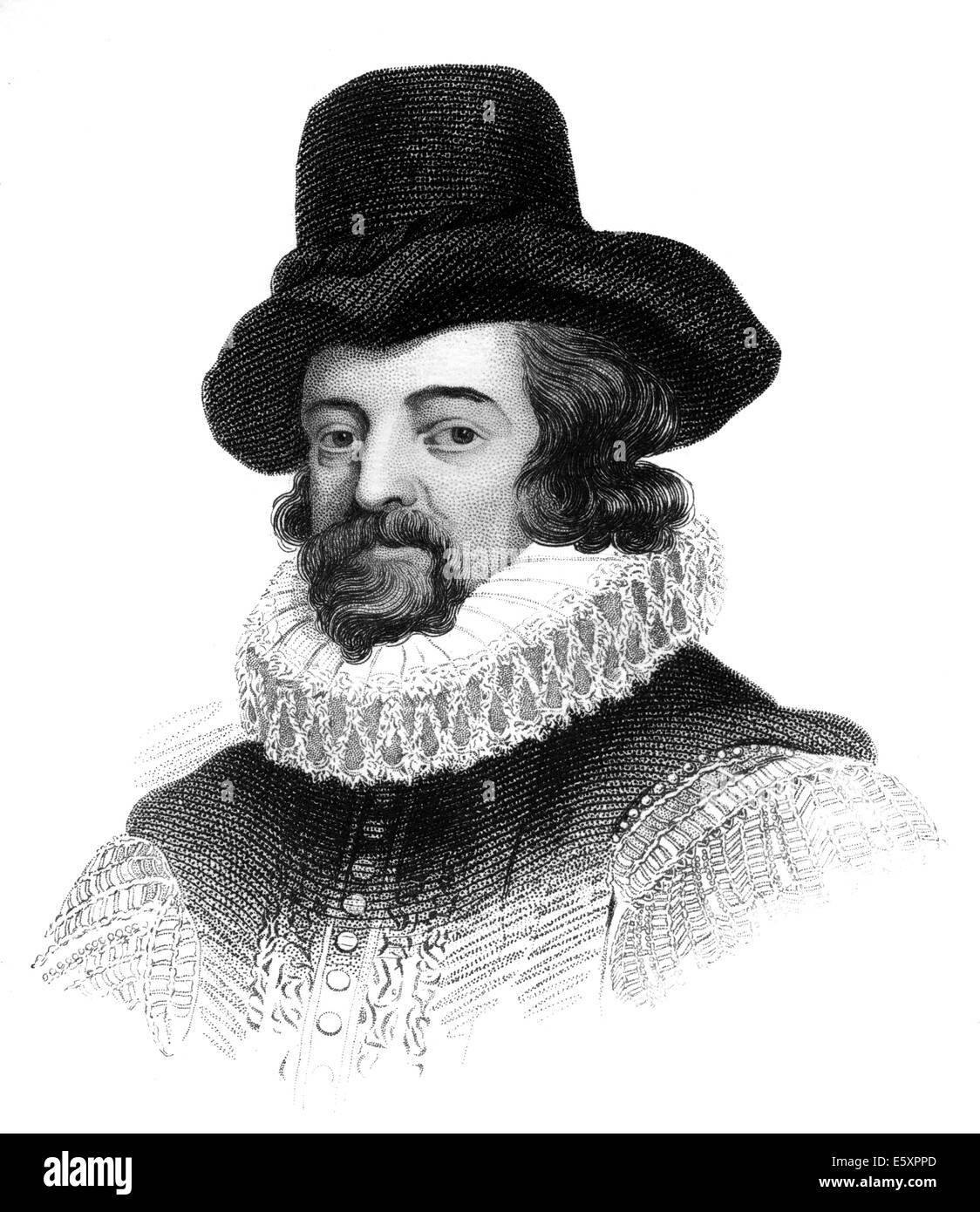 Francis Bacon or Baron Baco of Verulam, 1561 - 1626, an English philosopher, statesman and scientist, - Stock Image