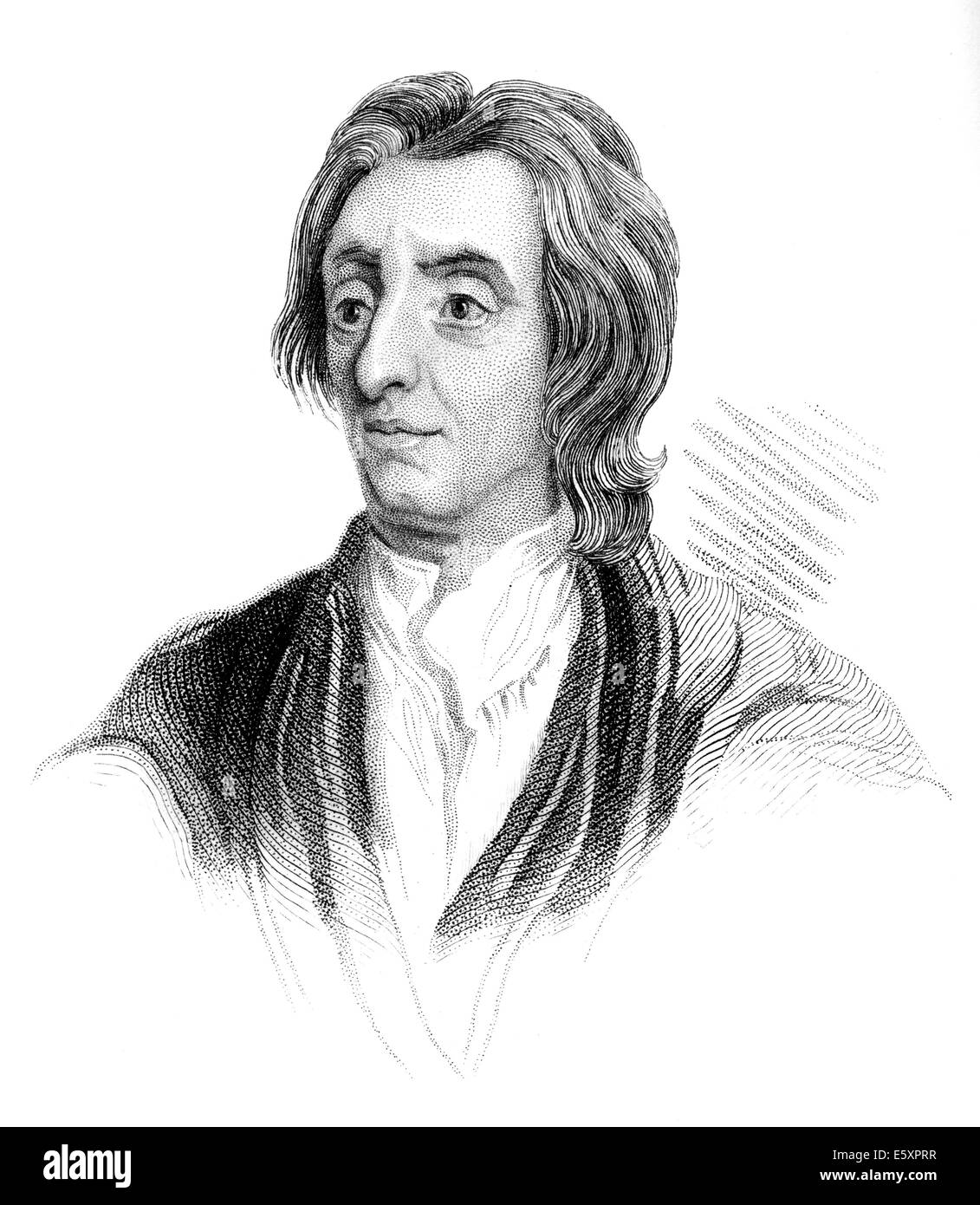 portrait of John Locke, 1632 - 1704, an English philosopher and thought leader of the Enlightenment, Stock Photo