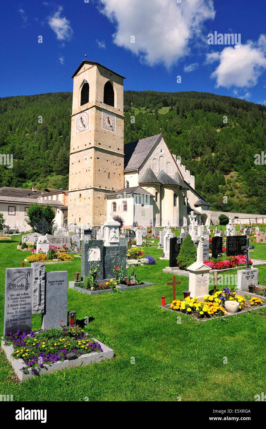 Cemetery at the Saint John Abbey, UNESCO World Heritage Site, Müstair, Engadin, Graubunden, Switzerland - Stock Image