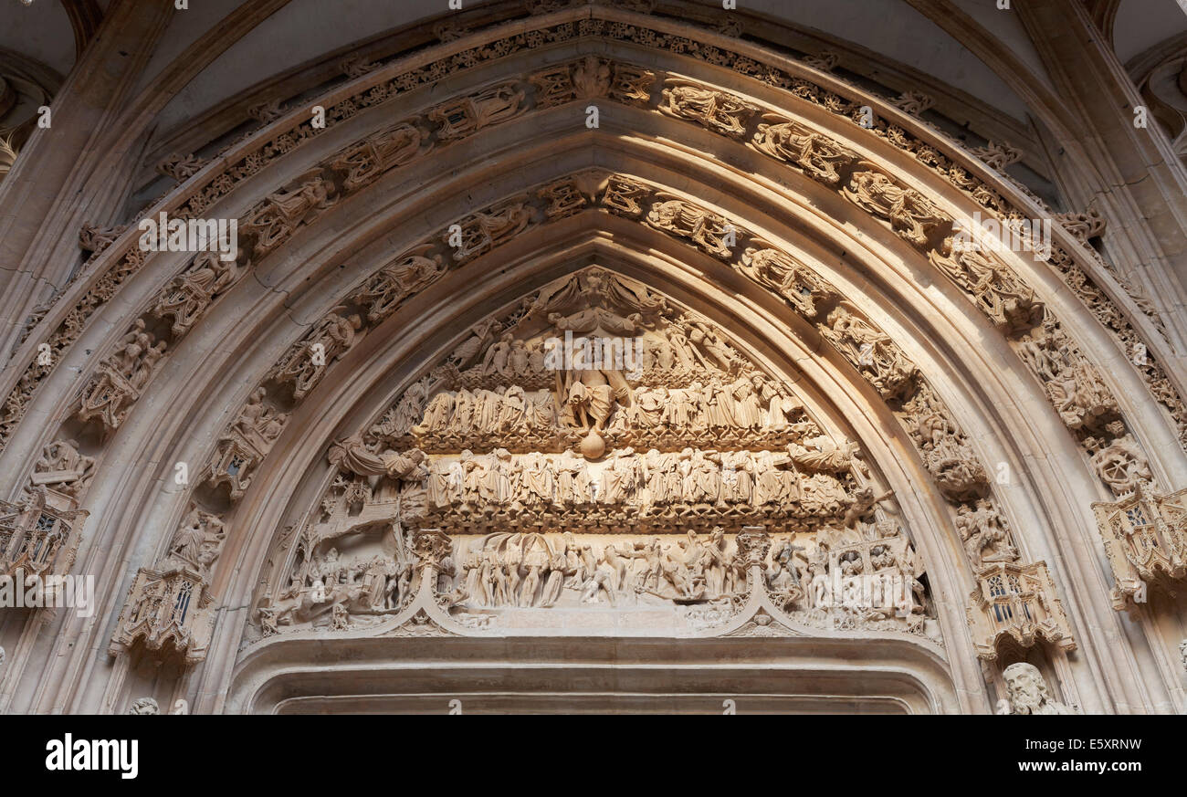 Tympanum on the portal the Church of Saint-Maclou, Flamboyant style of Gothic architecture, Rouen, Seine-Maritime - Stock Image