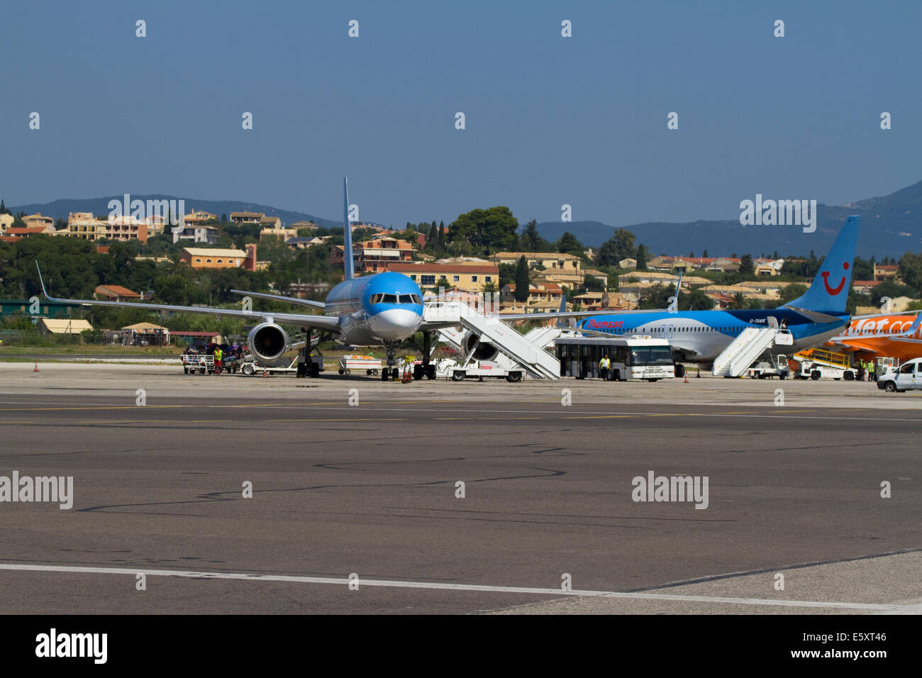 Airliners at Corfu Airport - Stock Image