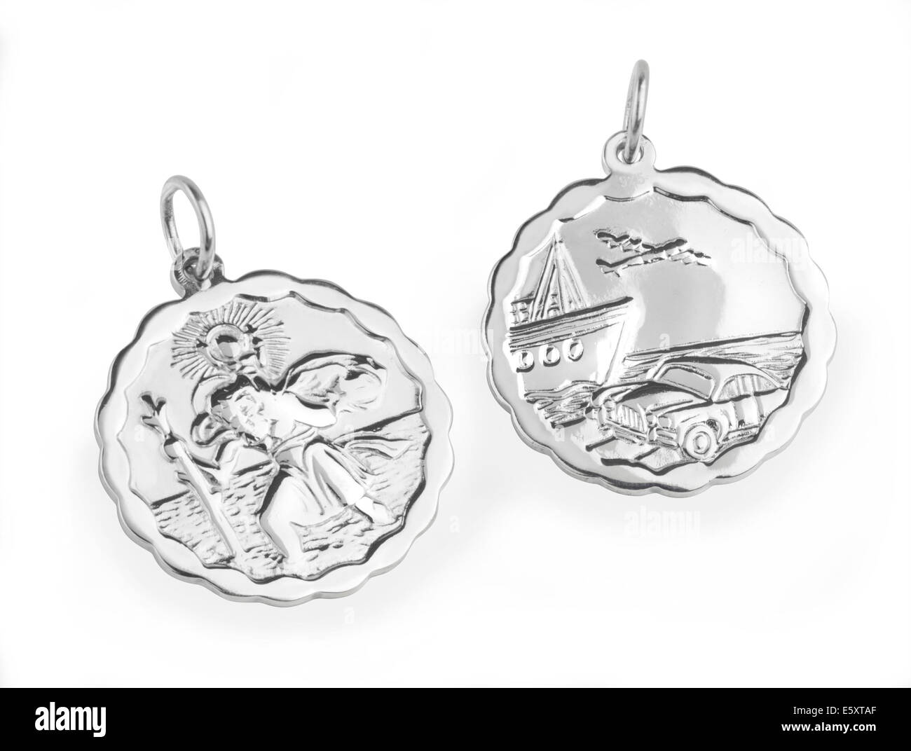 St Christopher pendant front and back images - Stock Image