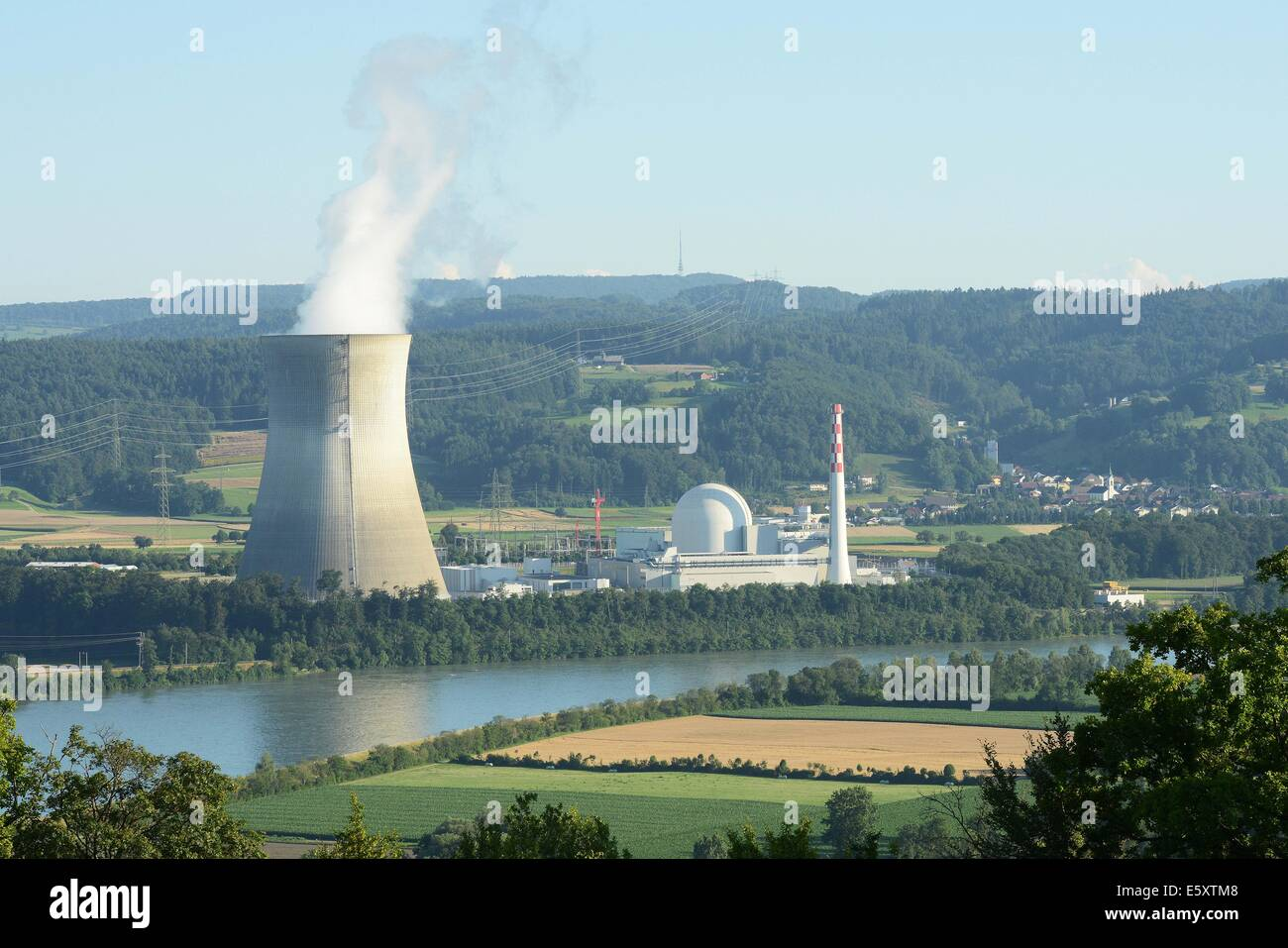 View of the nuclear plant in Leibstadt, Switzerland, July 17, 2014. - Stock Image