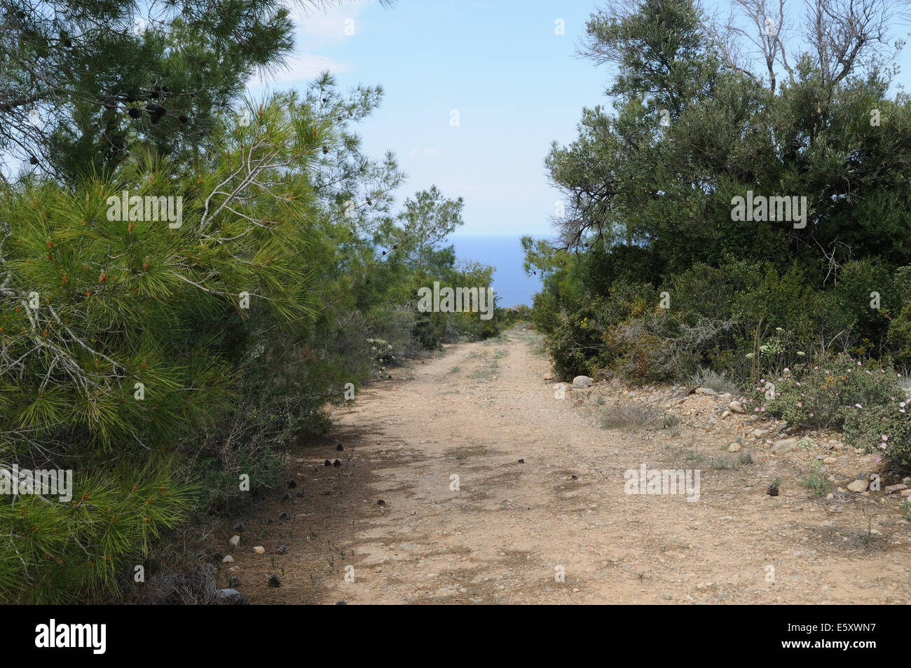 Path through Besparmak Mountains towards the coast at Kaplica North Cyprus Stock Photo
