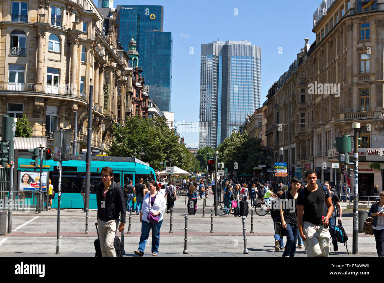 View to the pedestrian mall, Frankfurt am Main, Hesse, Germany, Europe. July 2014 - Stock Image