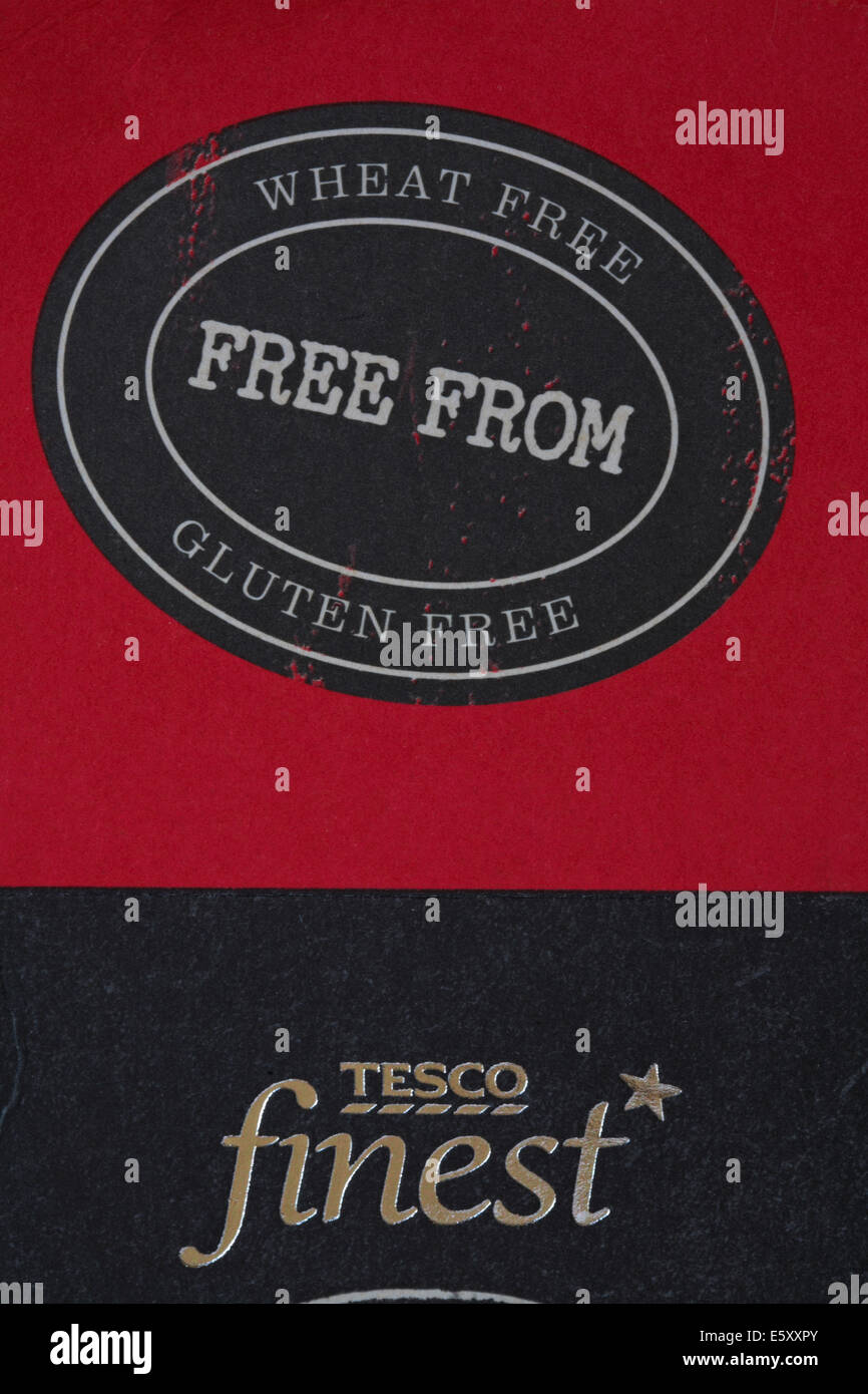 Wheat free free from gluten free information symbol logo on box of