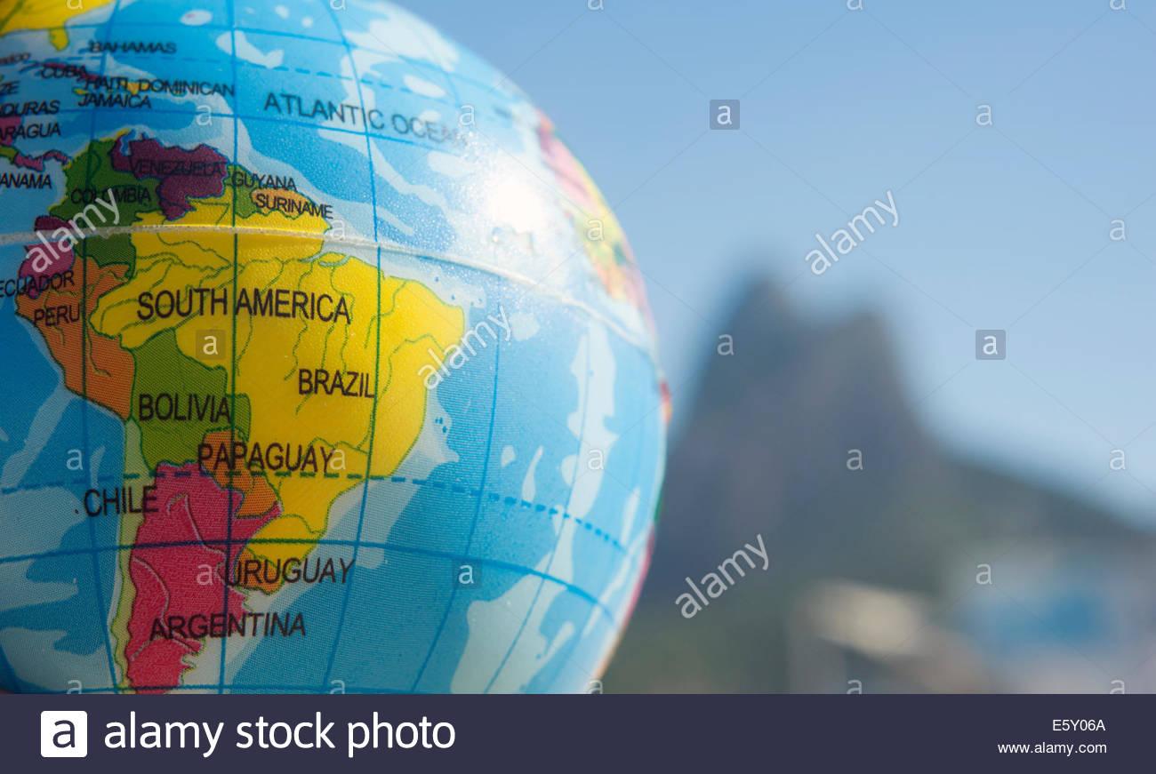 Brazil rio de janeiro globe showing brazil on leblon beach stock brazil rio de janeiro globe showing brazil on leblon beach gumiabroncs Image collections