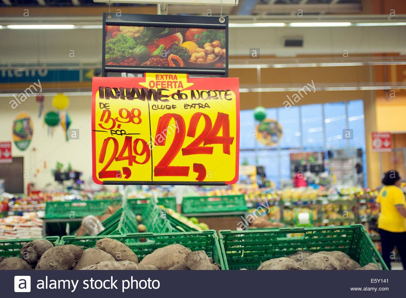 Recife Pernambuco Brazil. Fresh produce in a Recife supermarket. The price of yams. - Stock Image