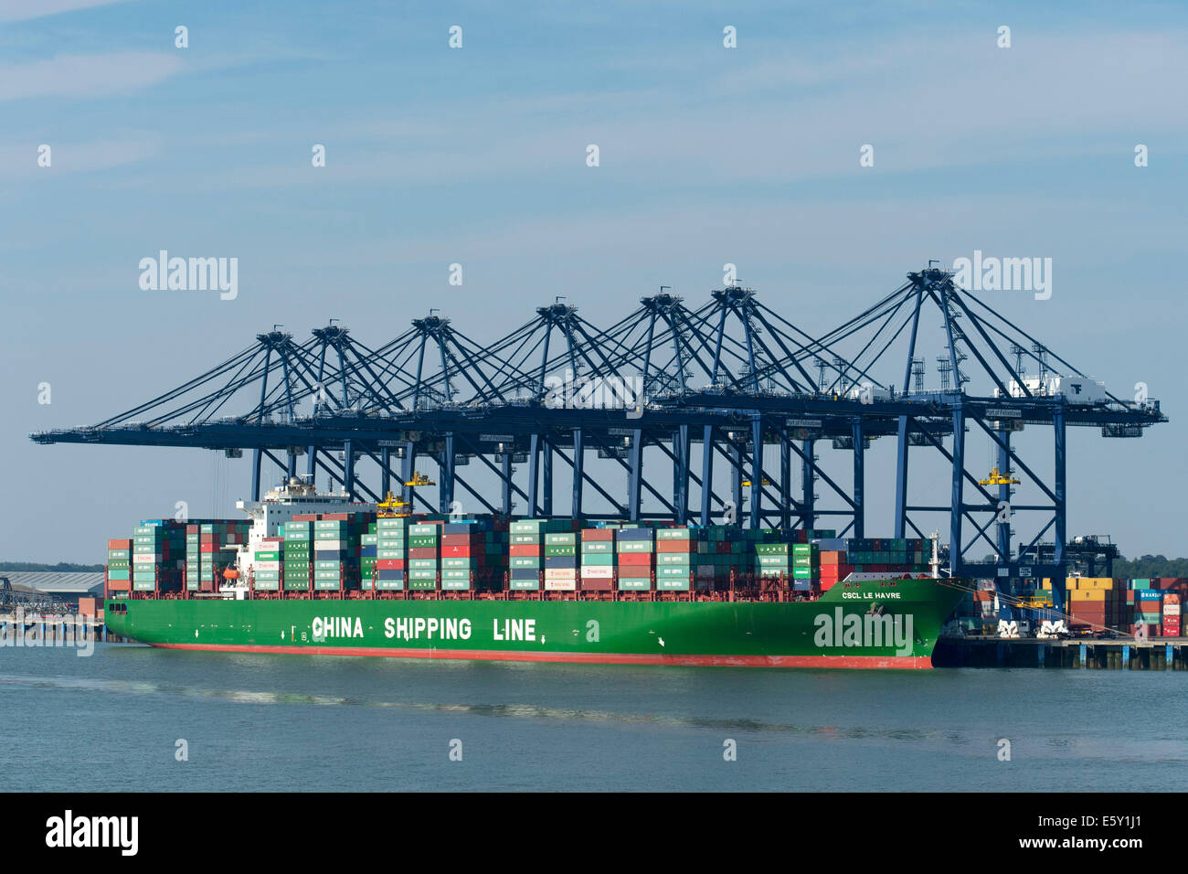A China Shipping Line ship at the Port off Felixstowe near Harwich, Engliand - Stock Image