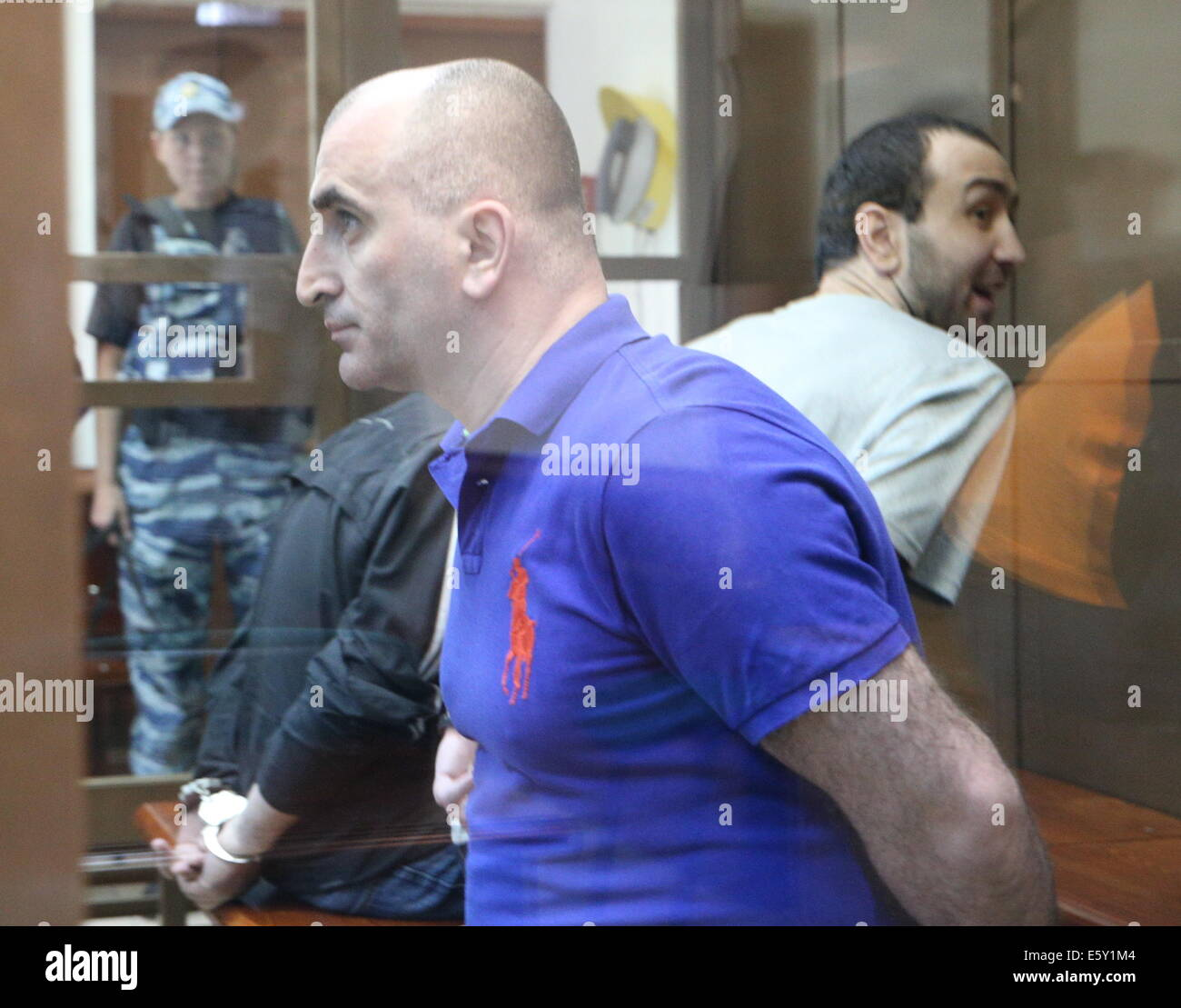 ITAR-TASS: MOSCOW, RUSSIA. AUGUST 7, 2014. Alexander Berishvili (foregeround) and Tornike Kvirikashvili (background - Stock Image