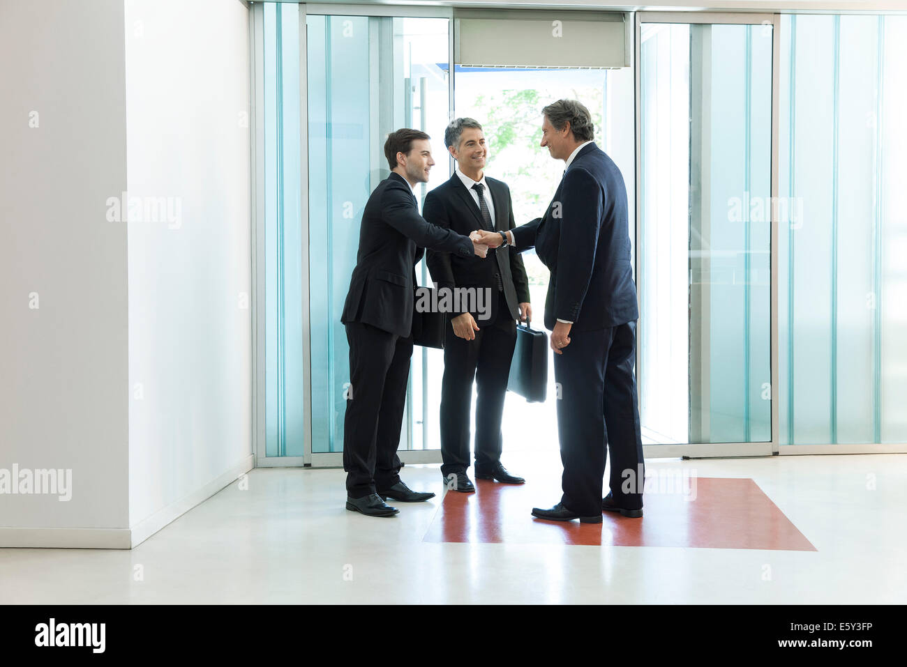 Senior business executive introducing new associate to collegue Stock Photo
