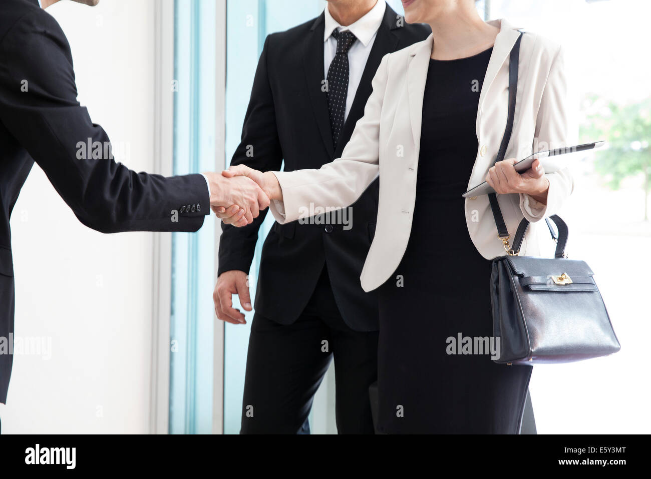 Businesswoman being introduced to business associate - Stock Image