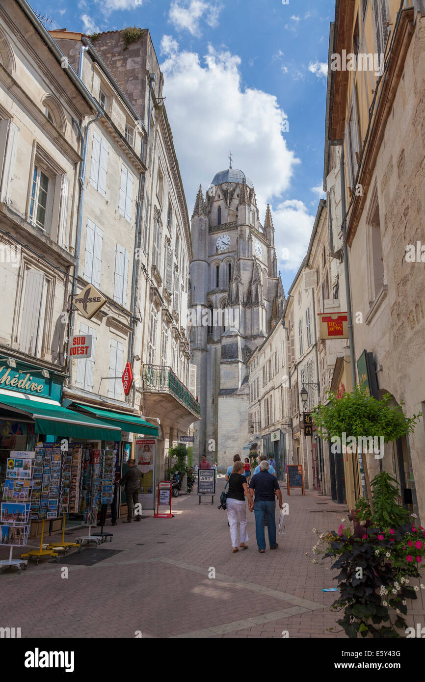 Pedestrian Street Leading To The Cathedral In Saintes France Stock Photo Alamy