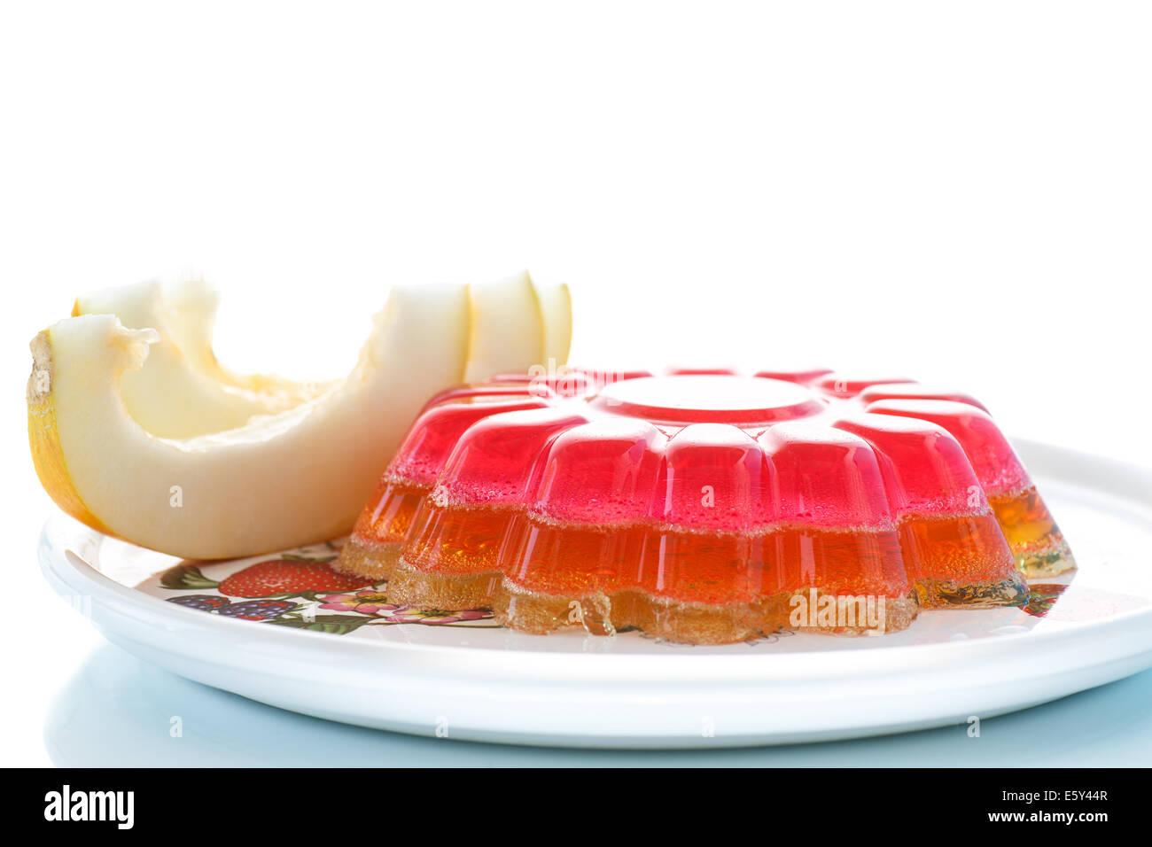 multi-layered fruit jelly isolated on white background - Stock Image