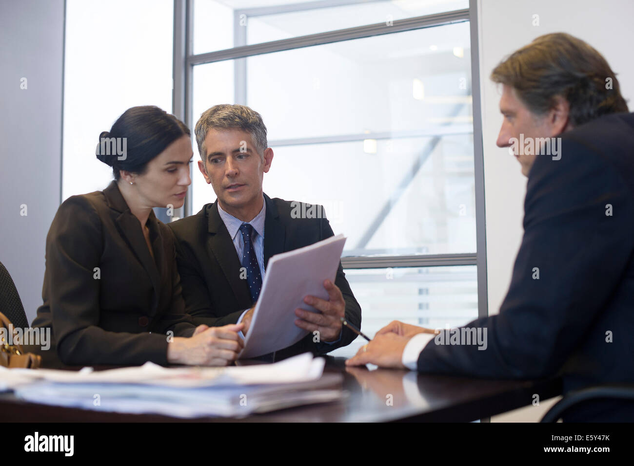 Business meeting, business associates reviewing contract - Stock Image
