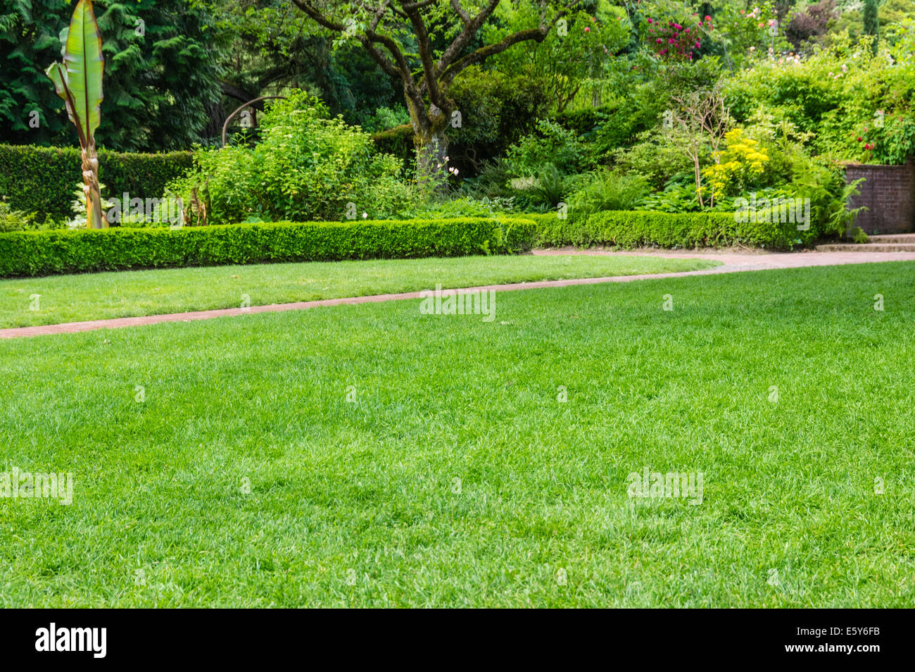 Green fresh lawn and brick pathway in a large public garden with hedges and flower beds - Stock Image