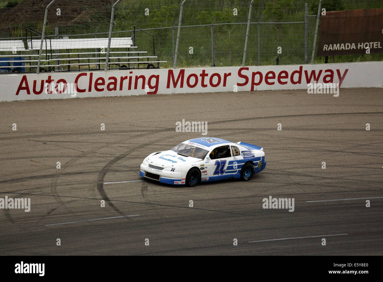 Motor racing at the Auto Clearing Motor Speedway racing circuit in Saskatoon, Saskatchewan, Canada. - Stock Image