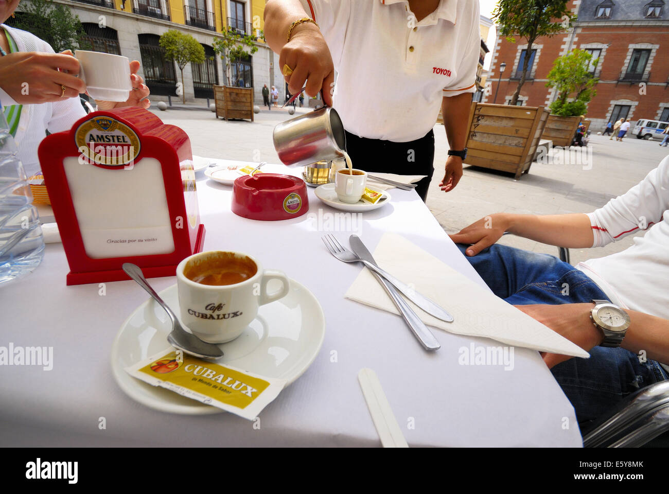 café, scene with different brands or logotypes, Madrid, Spain Stock Photo