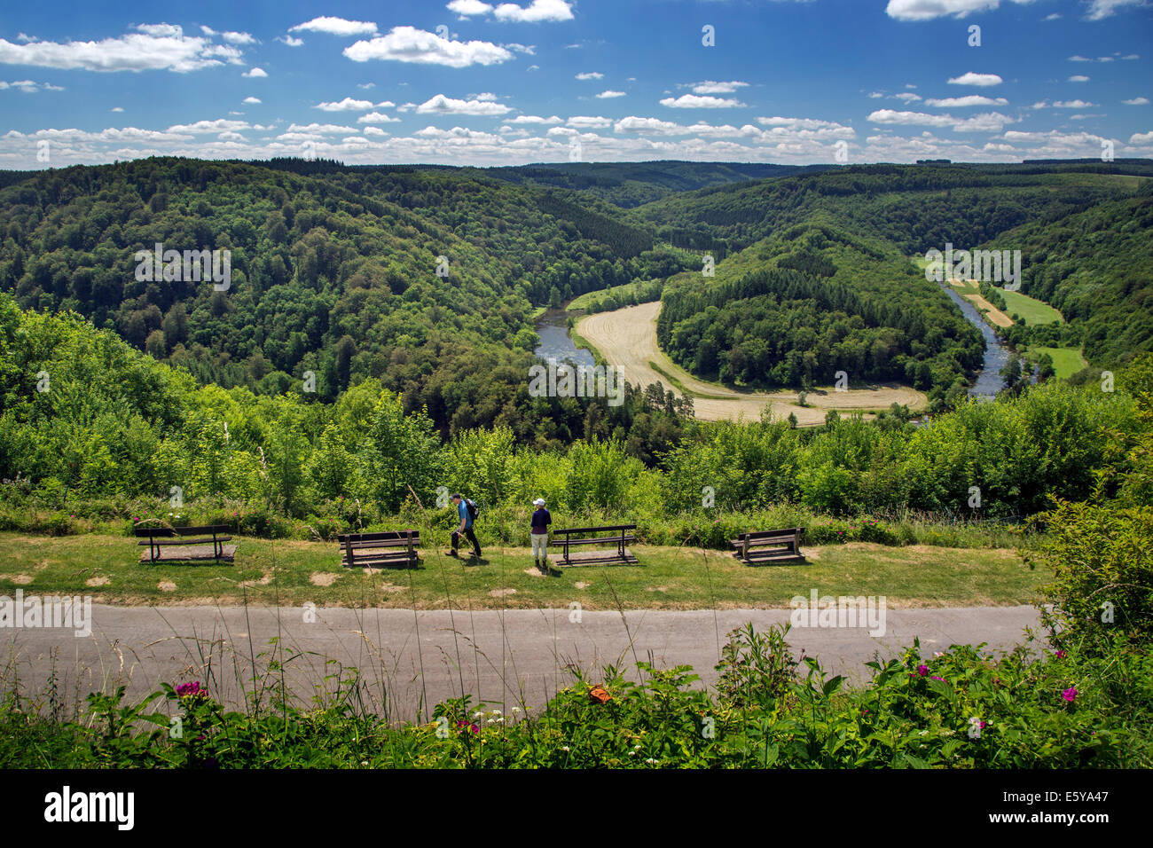 Tombeau du Géant, hill inside a meander of the river Semois at Botassart in the Belgian Ardennes, Belgium - Stock Image