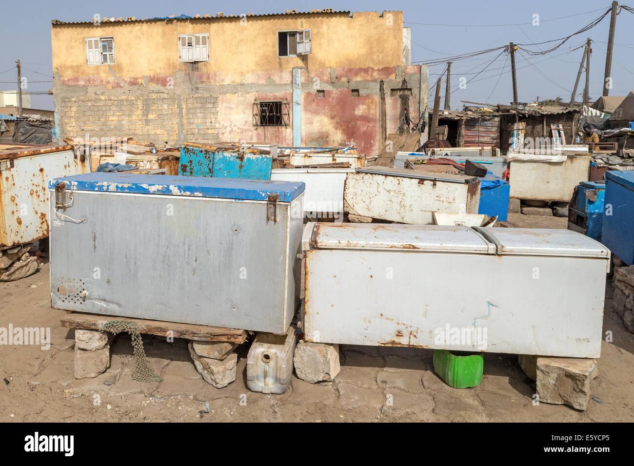 Fridges keeping the freshly landed fish Kayar Senegal - Stock Image