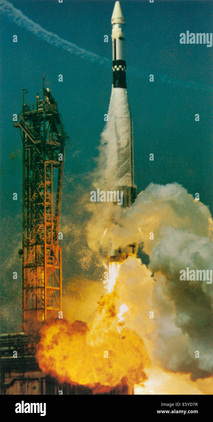 Agena Target Vehicle Launching into Space on Atlas Rocket in Preparation for Gemini 8 Launch, Cape Canaveral, Florida, - Stock Image