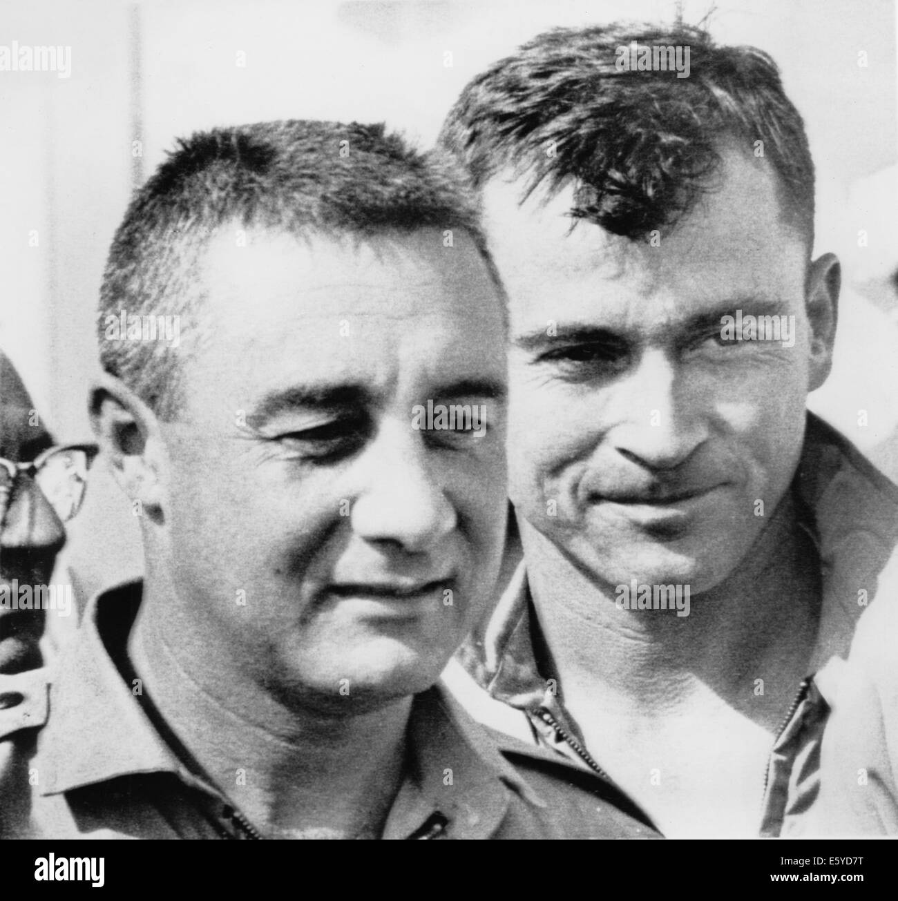 NASA Astronauts Virgil 'Gus' Grissom and John Young, upon Completion of Gemini 3 Space Mission, Portrait, - Stock Image
