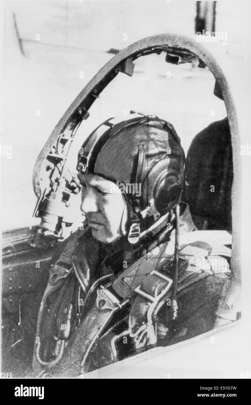 Soviet Cosmonaut, Alexei Leonov, Sitting in Fighter Plane Cockpit During Final Training Session, March, 1965 - Stock Image