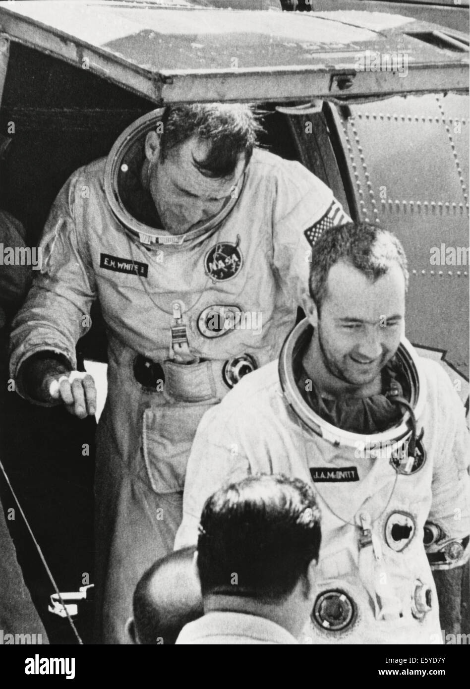 NASA Astronauts James McDivitt (front) and Edward White II after Completion of Gemini IV Space Mission, June 7, - Stock Image