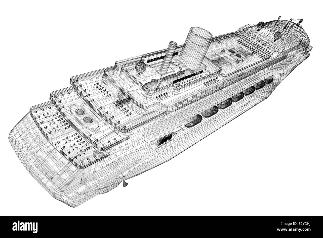 cruise liner, ship,  body structure, wire model - Stock Image