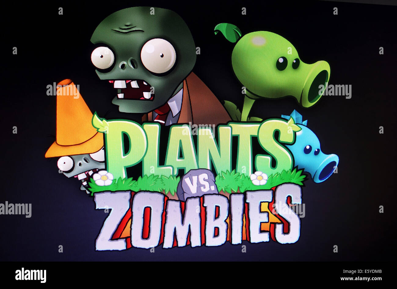 screenshot of Plants vs Zombies computer game Stock Photo