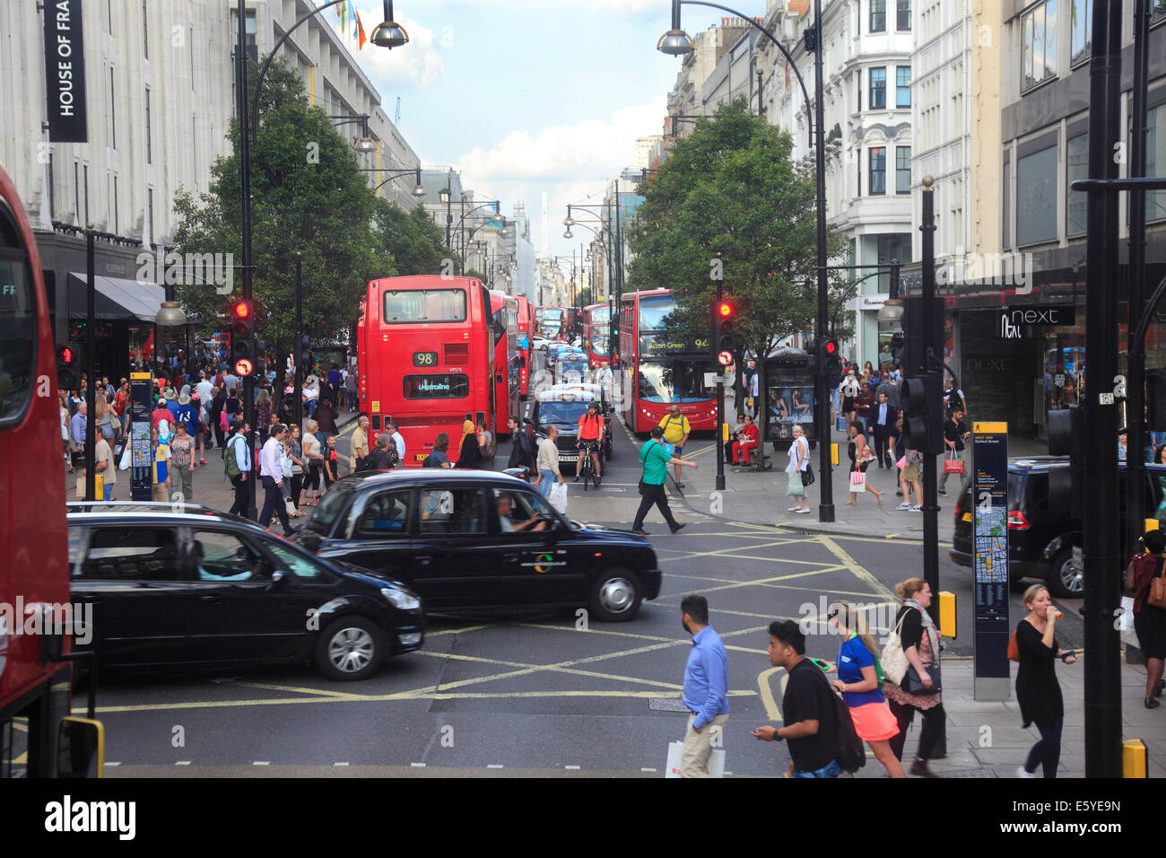 Oxford Street on a busy summers day in London's West End - Stock Image
