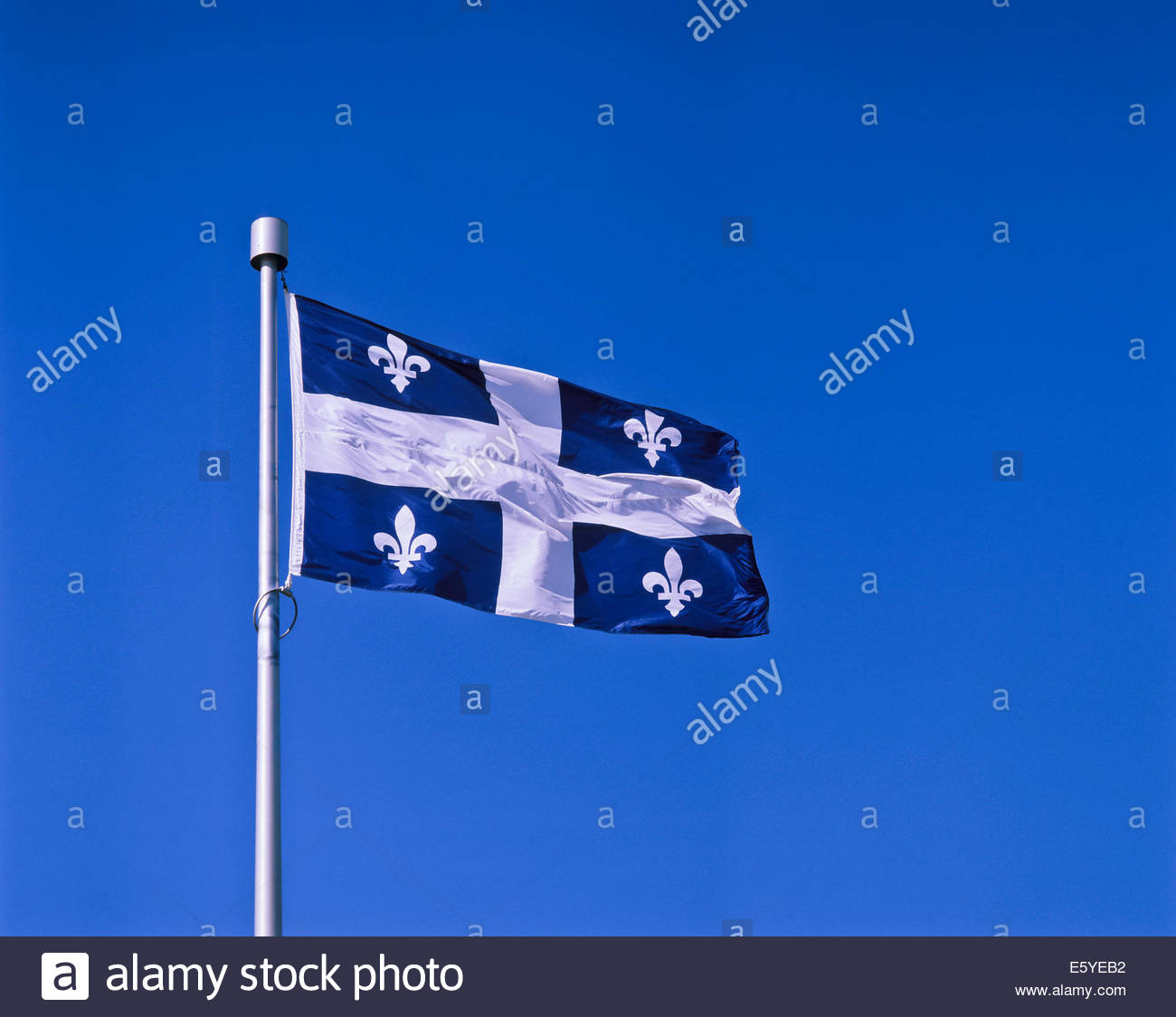 Flag of the province of Quebec Canada - Stock Image