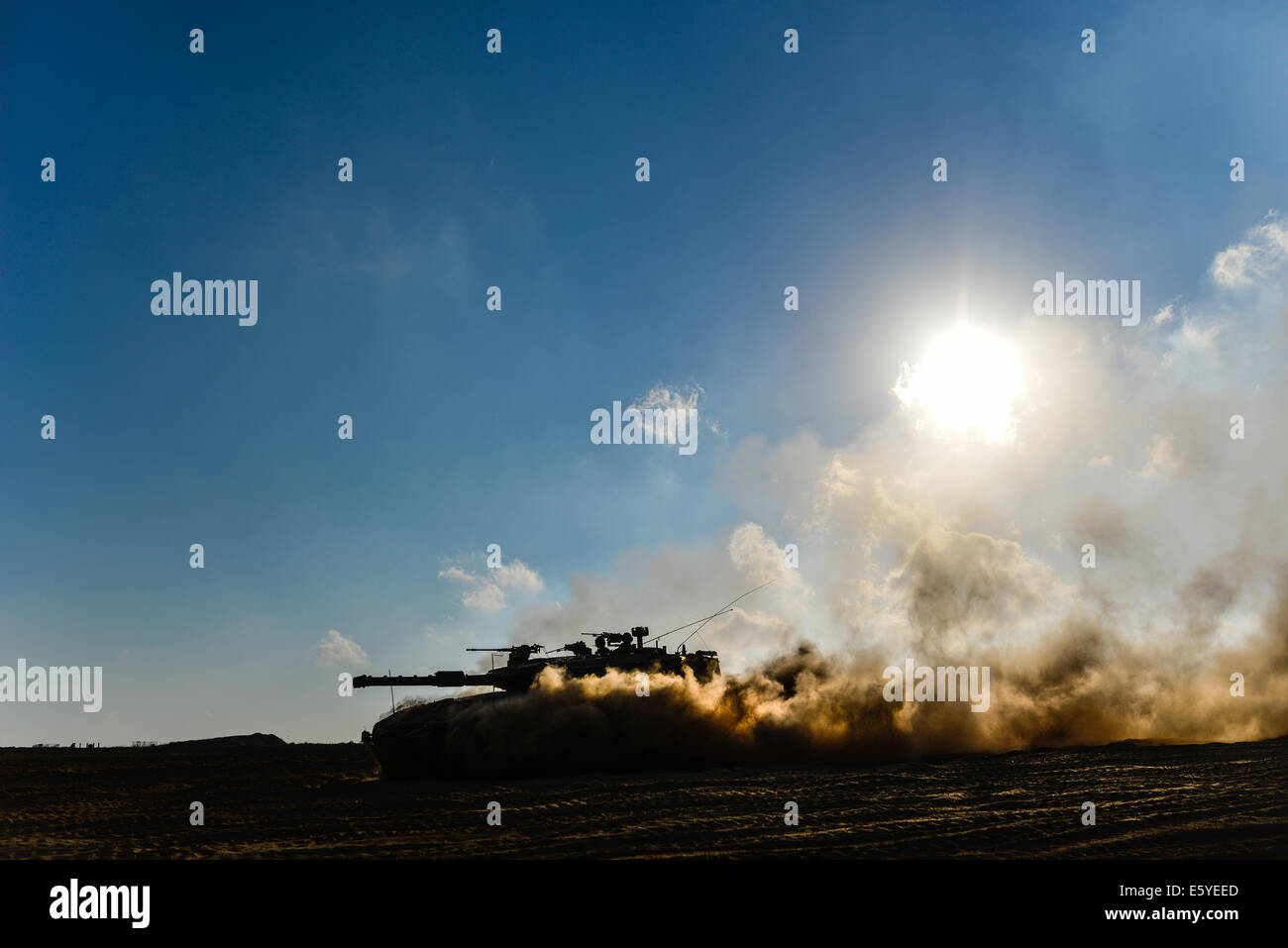 Israeli armor corps around Gaza Strip - Stock Image