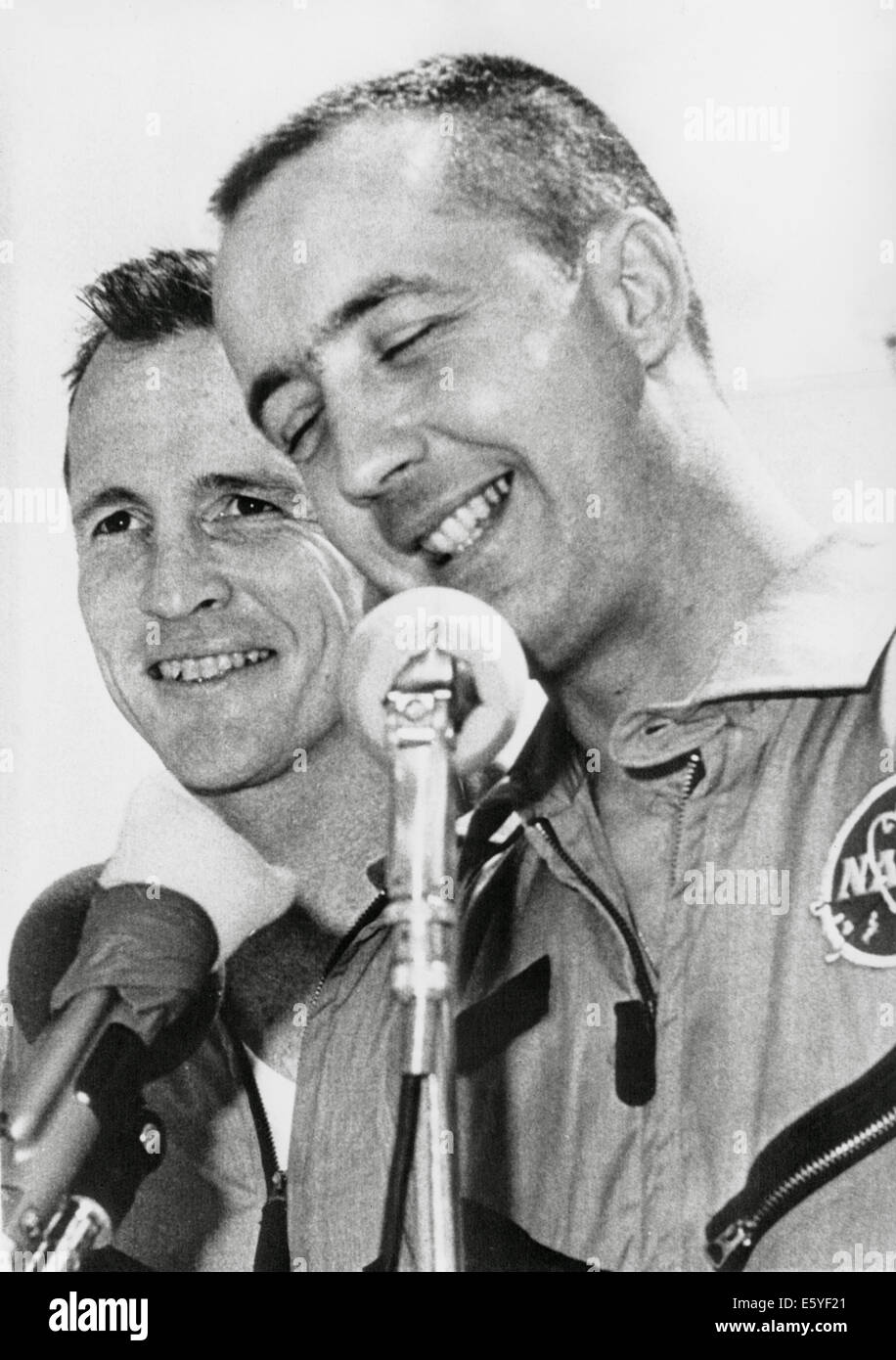 NASA Astronauts James McDivitt (R) and Edward White II at Press Conference upon Completion of Gemini IV Space Mission, - Stock Image