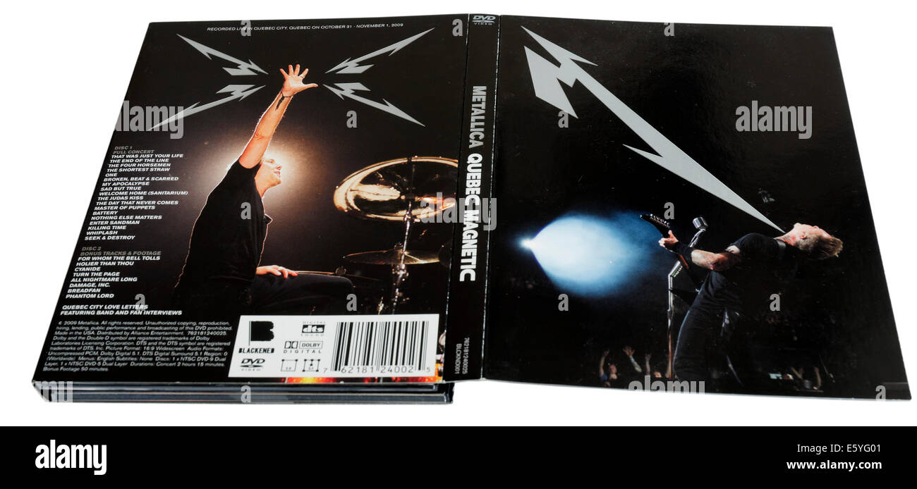 Quebec Magnetic DVD by Metallica - Stock Image
