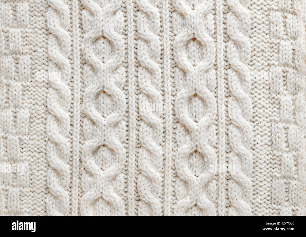 Knit texture of light natural wool knitted fabric with cable pattern ...