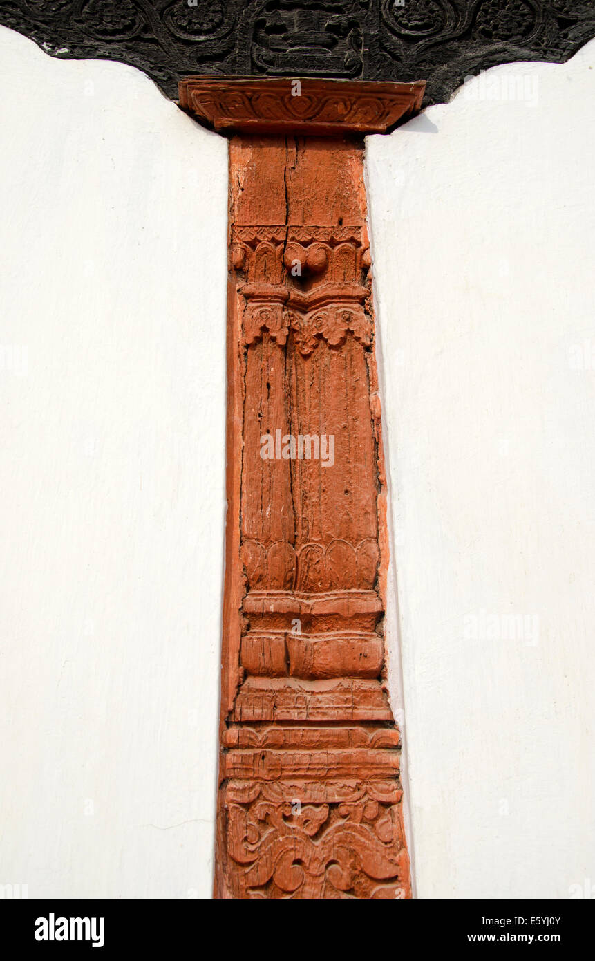 historical carved wood decoration on wall in Kathmandu, Nepal capital Stock Photo