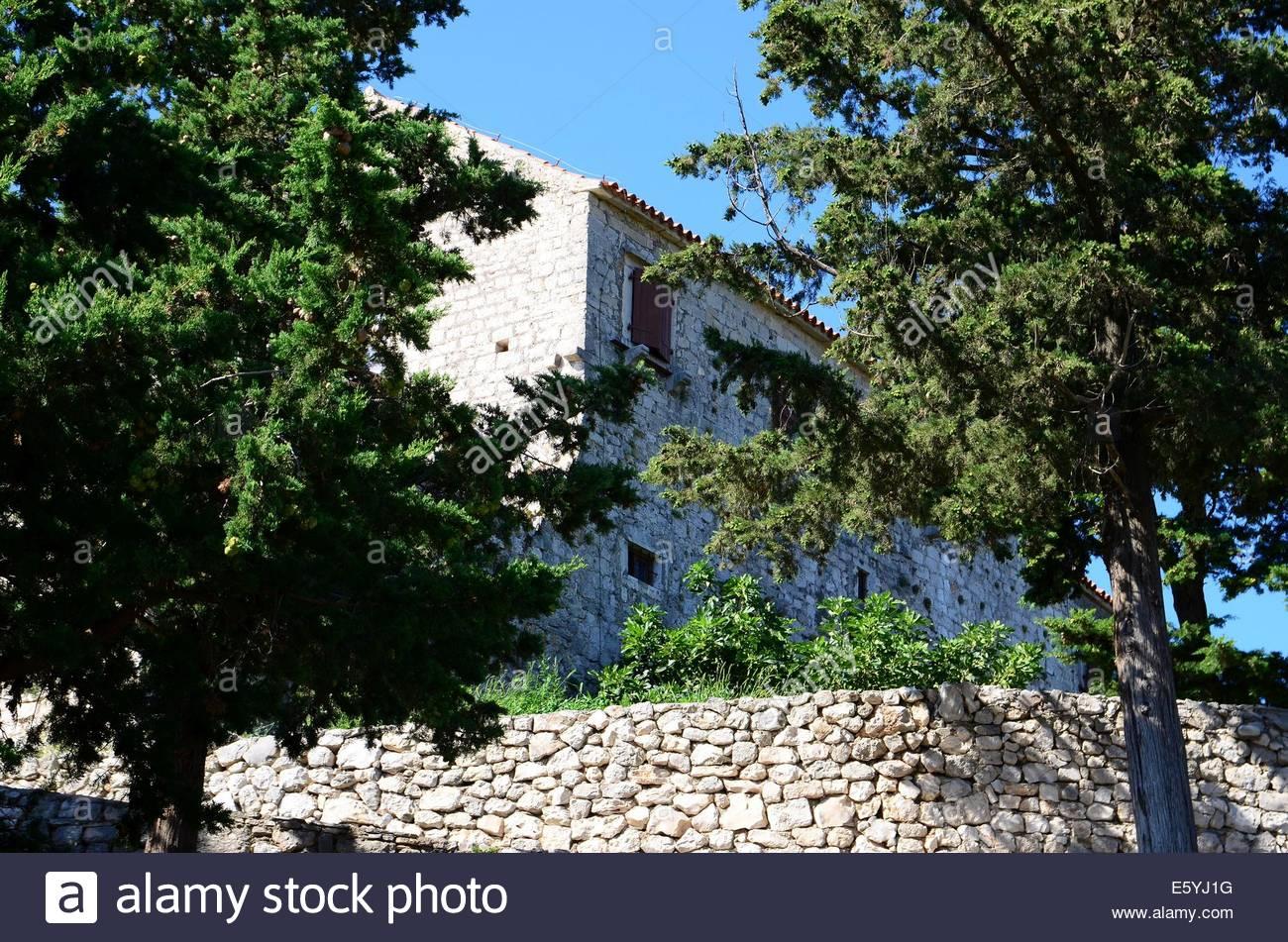 St. Cosmas and Damian Monastery on the hill Cokovac, island of Pasman,Croatia - Stock Image