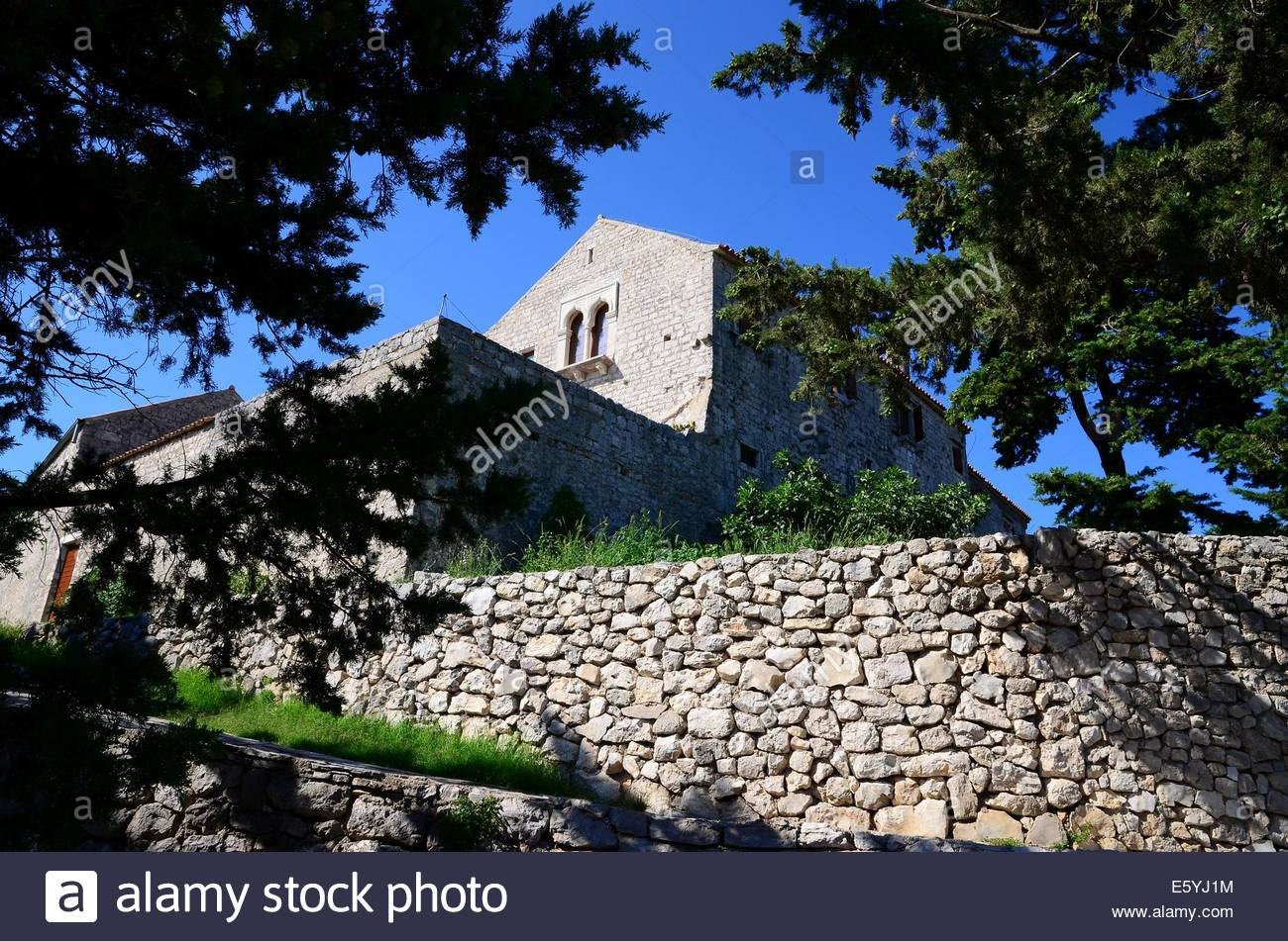 St. Cosmas and Damian Monastery on the hill Cokovac, island of Pasman,Croatia - Stock Image