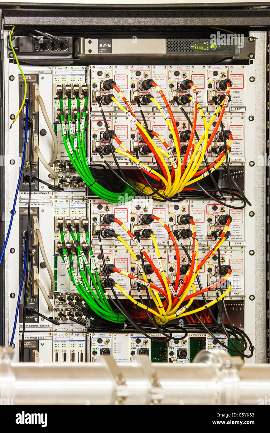 A maze of colour coded electric cables powering scientific equipment ...